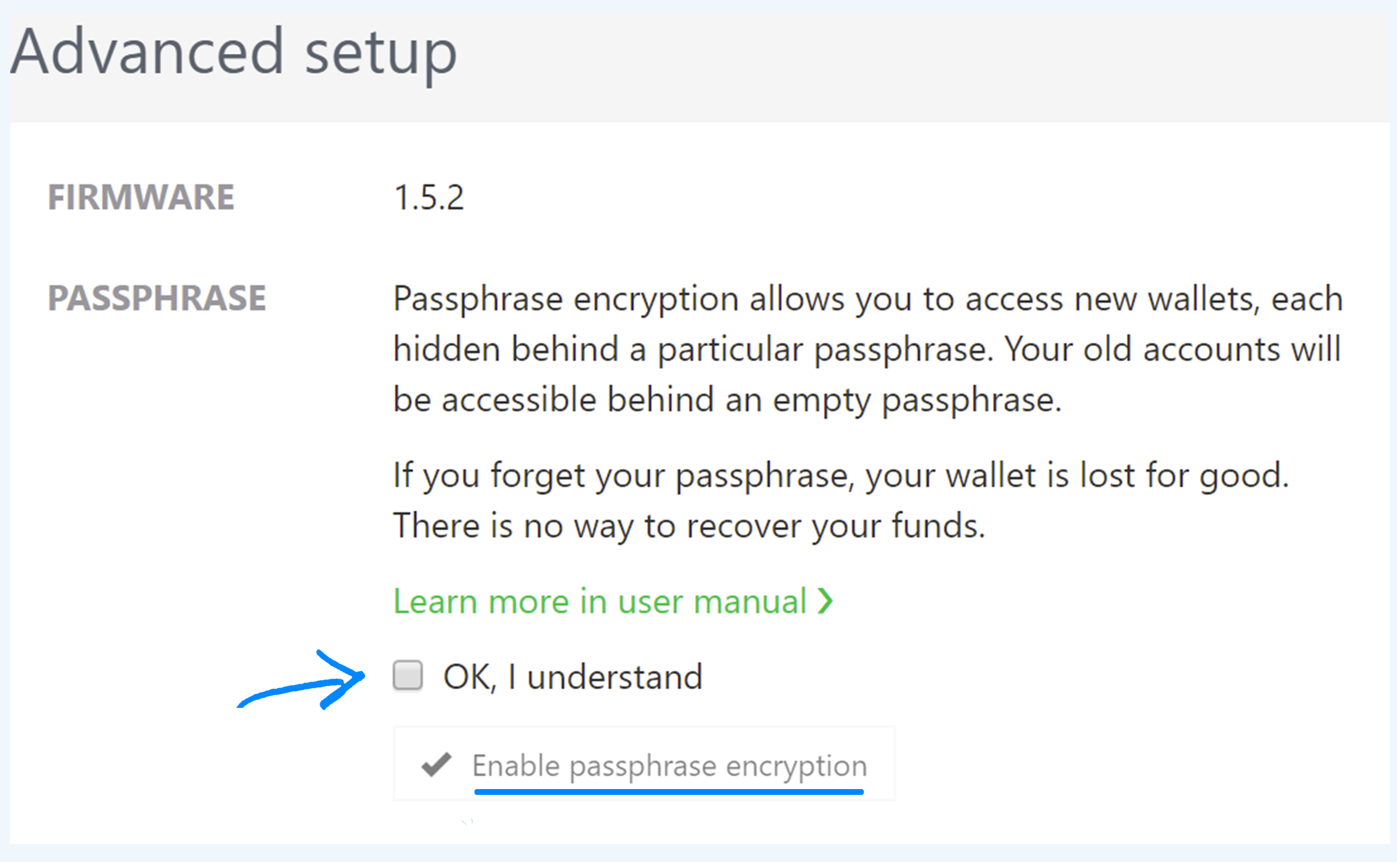 Enable passphrase encryption