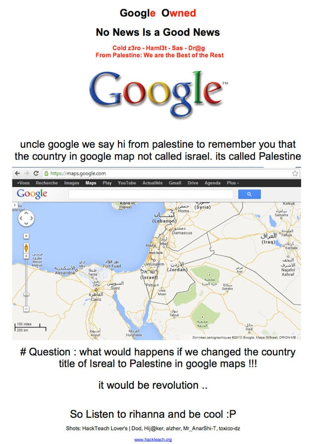 Google Palestine website